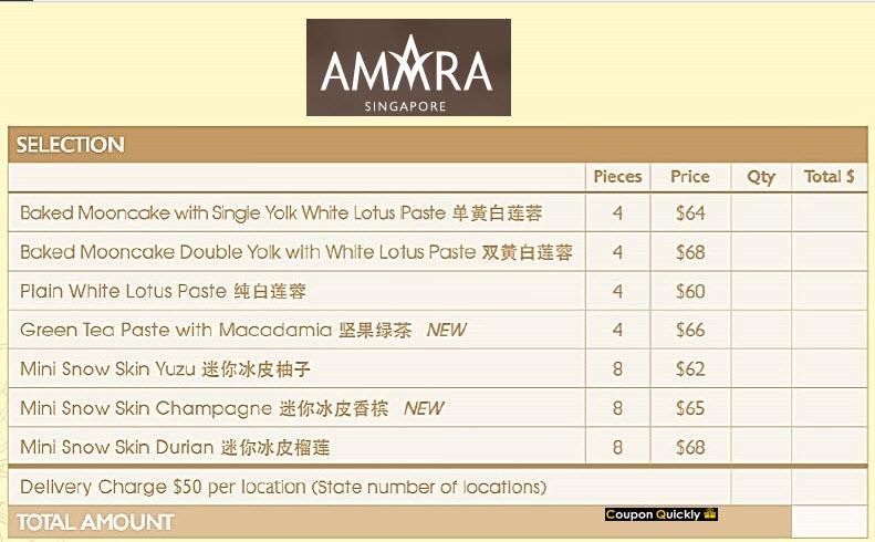 amara mooncake price list