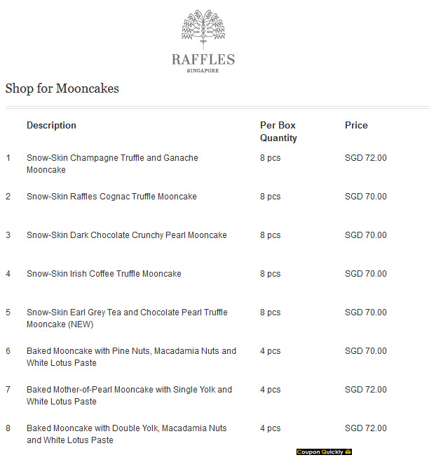 raffles hotel mooncake price list